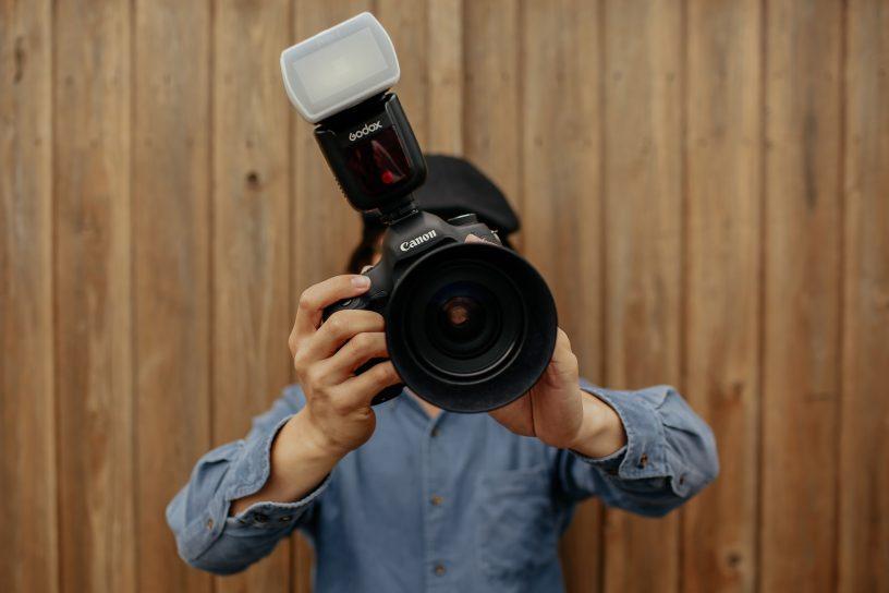 Kamera med blixt